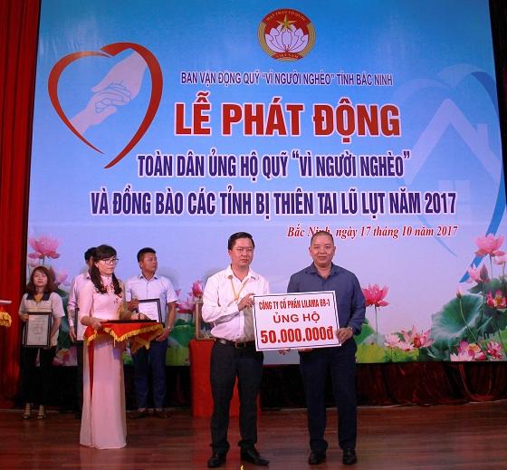 """LILAMA 69-1 ủng hộ 50 triệu đồng Quỹ """"Vì người nghèo"""" tỉnh Bắc Ninh"""